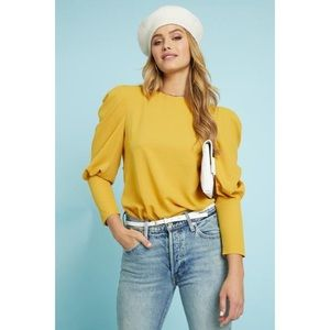 Tops - 🆕 Yellow Puff Long Sleeve Back Tie Blouse